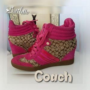 COACH Fushia Pink Signature High Top Sneakers